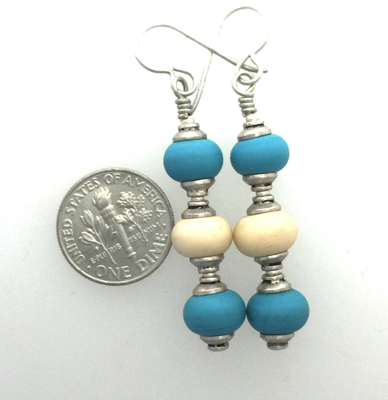 Turquoise and Ivory Glass Lamp Work and Sterling Silver Earrings