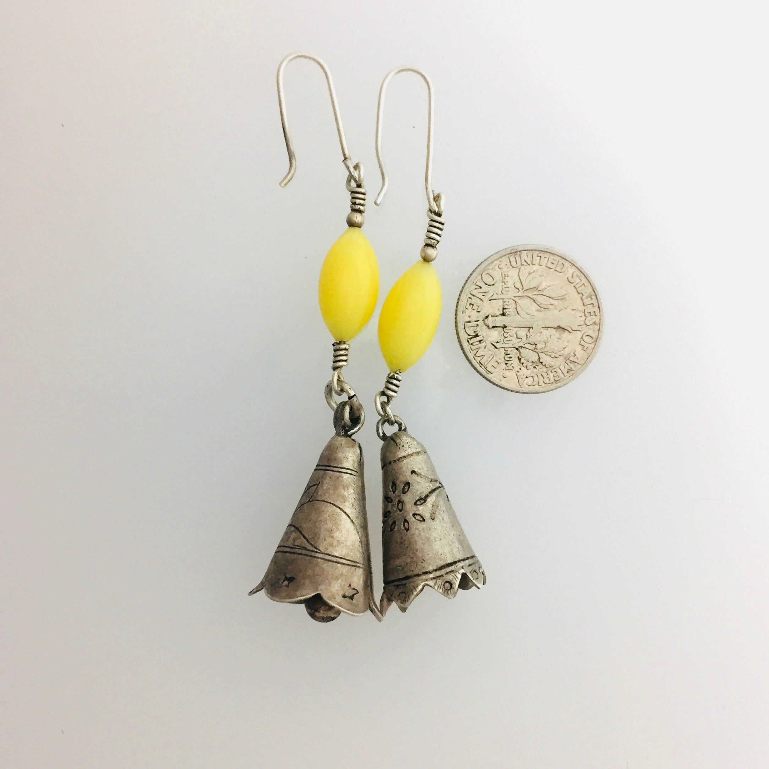 Kate's Treasures Imperial Yellow Peking Glass Earrings