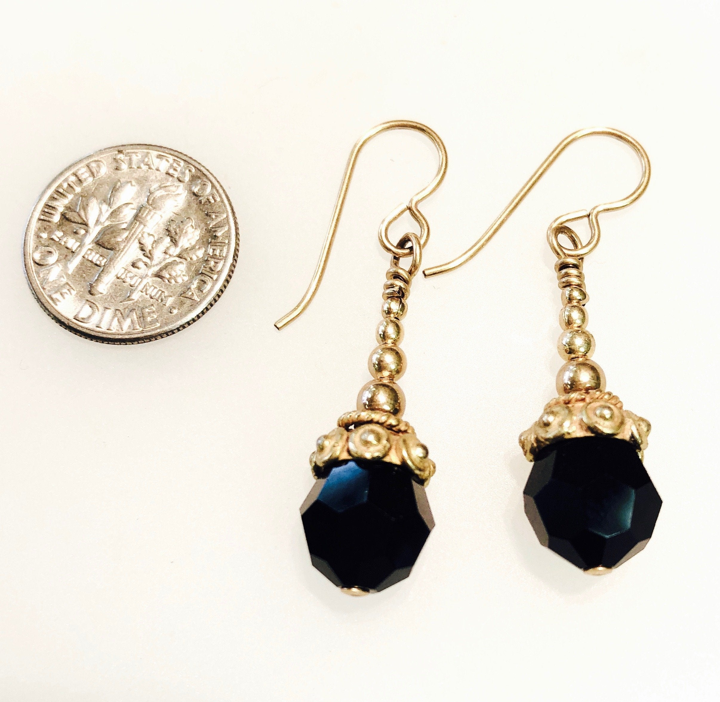 Jet Black Swarovski Earrings with Gold Fill