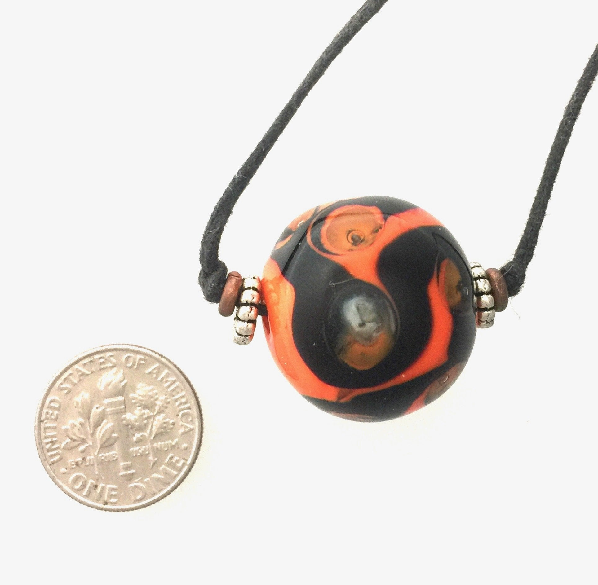 Orange Marble Bead Lampwork Necklace by Kate