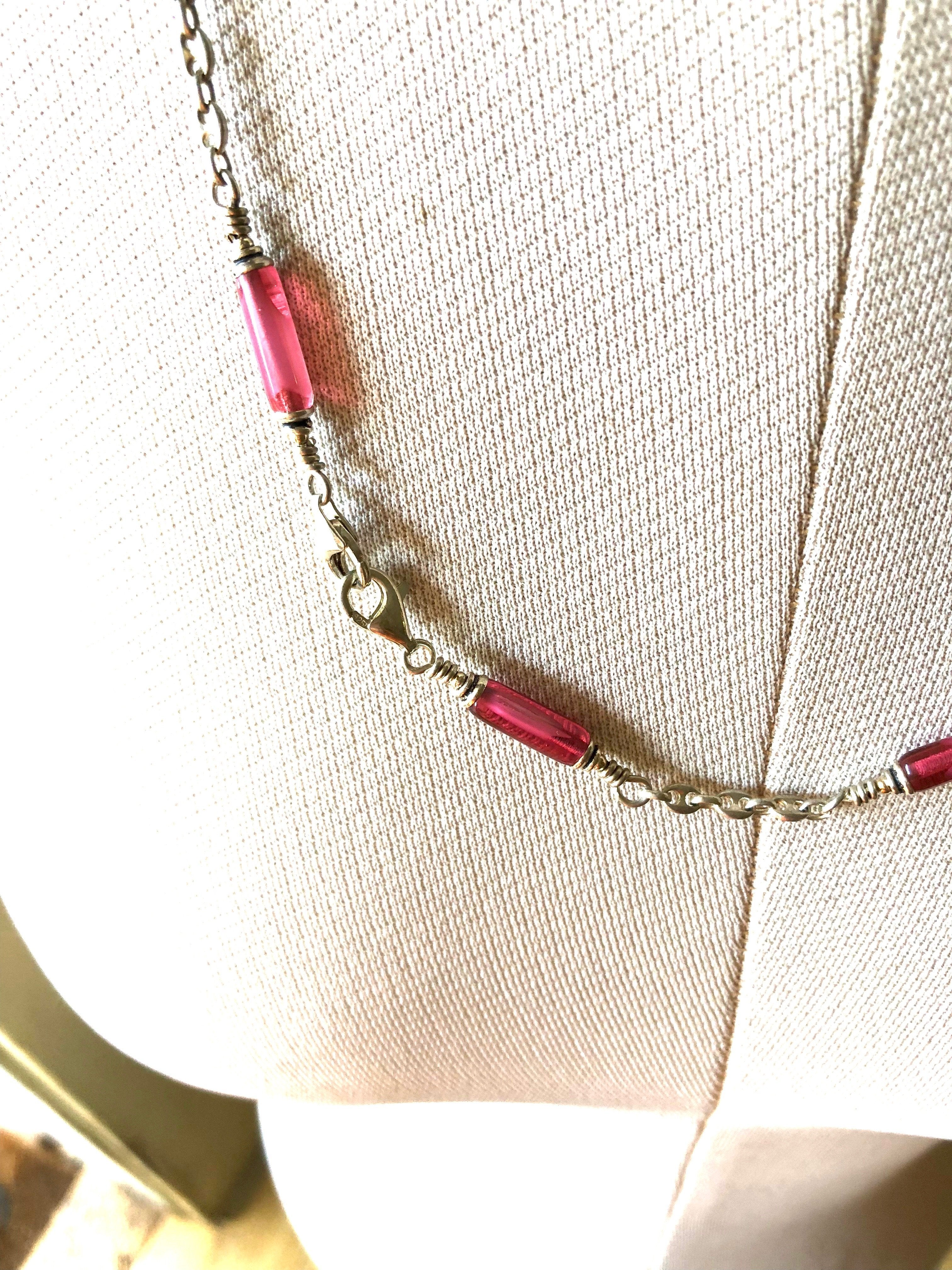 Rose Vintage Glass and Gucci Chain