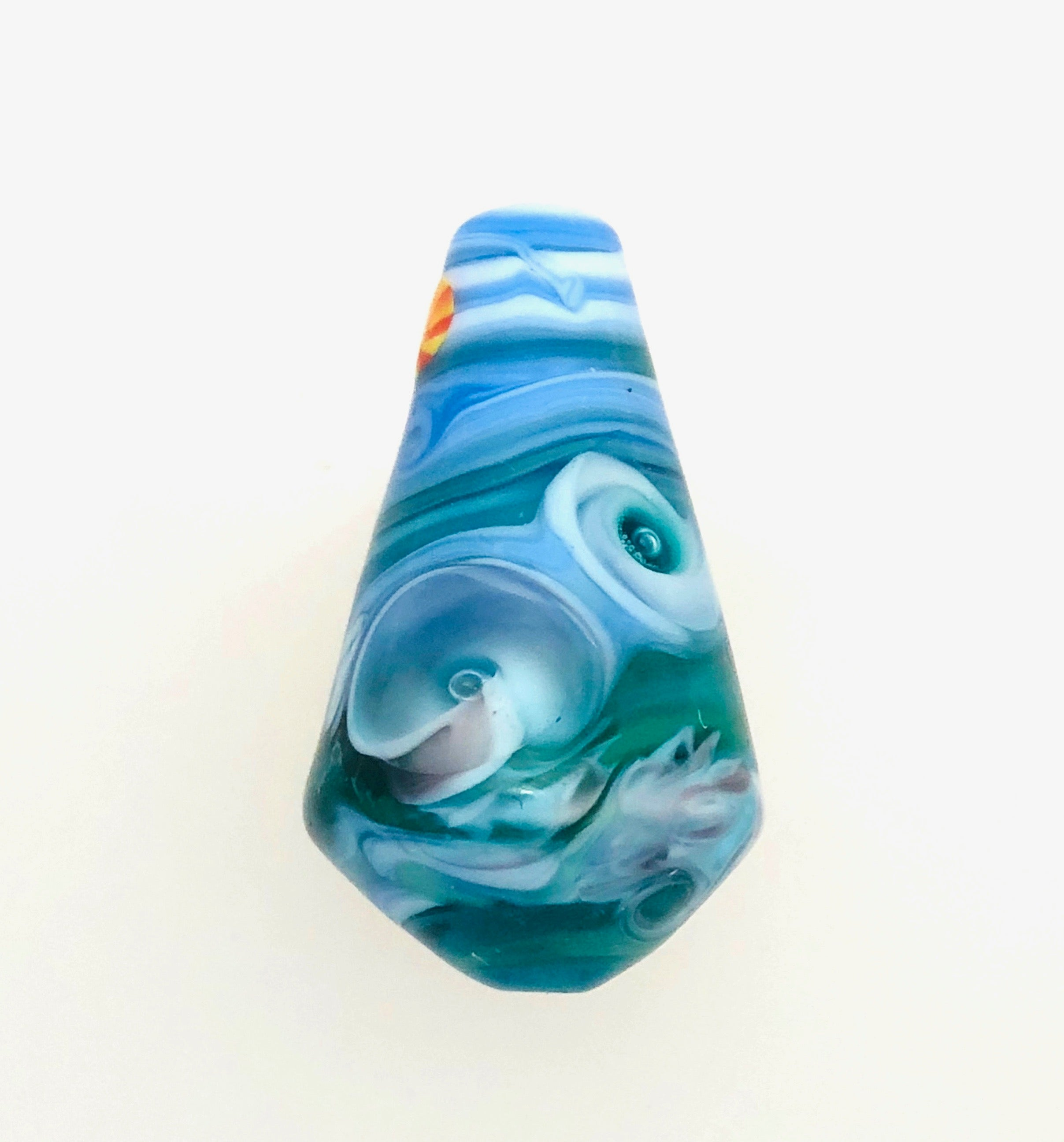 Unset Lamp Work Ocean Bead Signed.