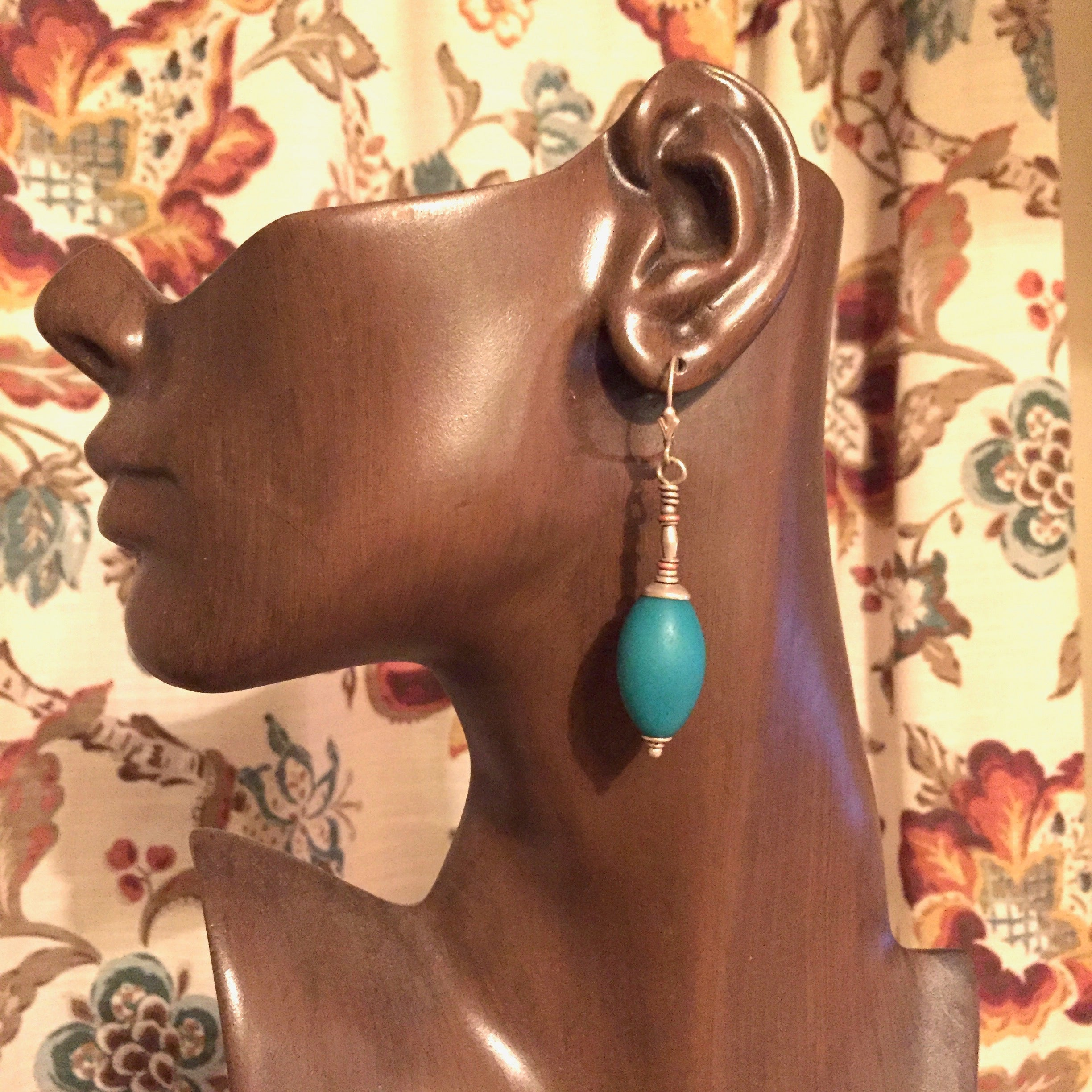 Kate's Treasures. Fine Old Turquoise Glass Earrings
