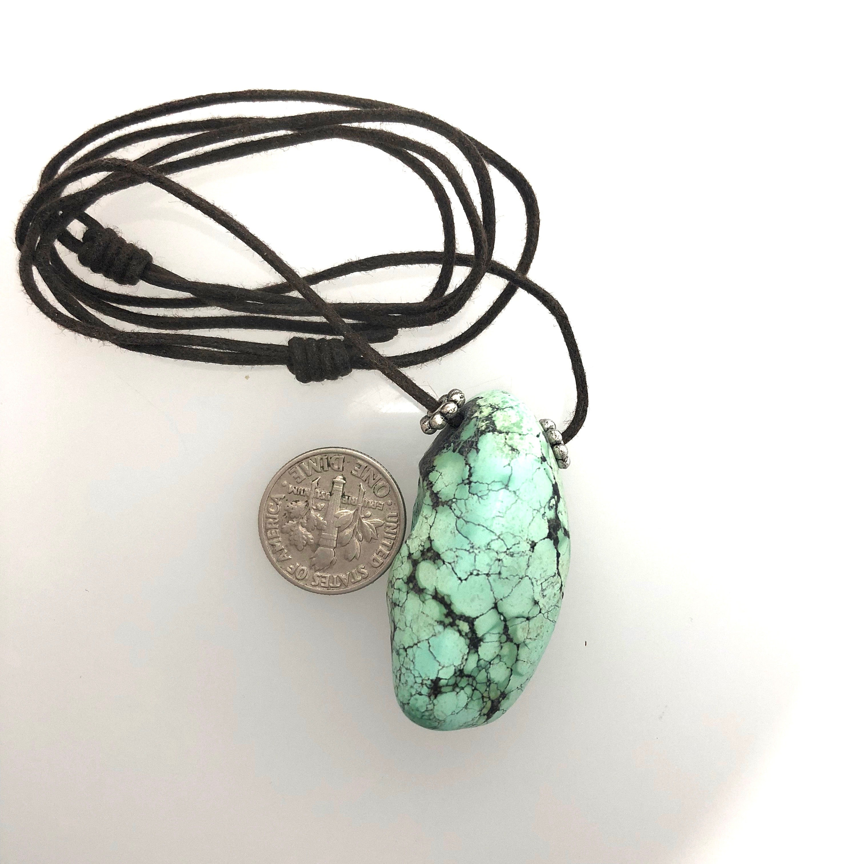 Turquoise Pendant on Two Knot Cord