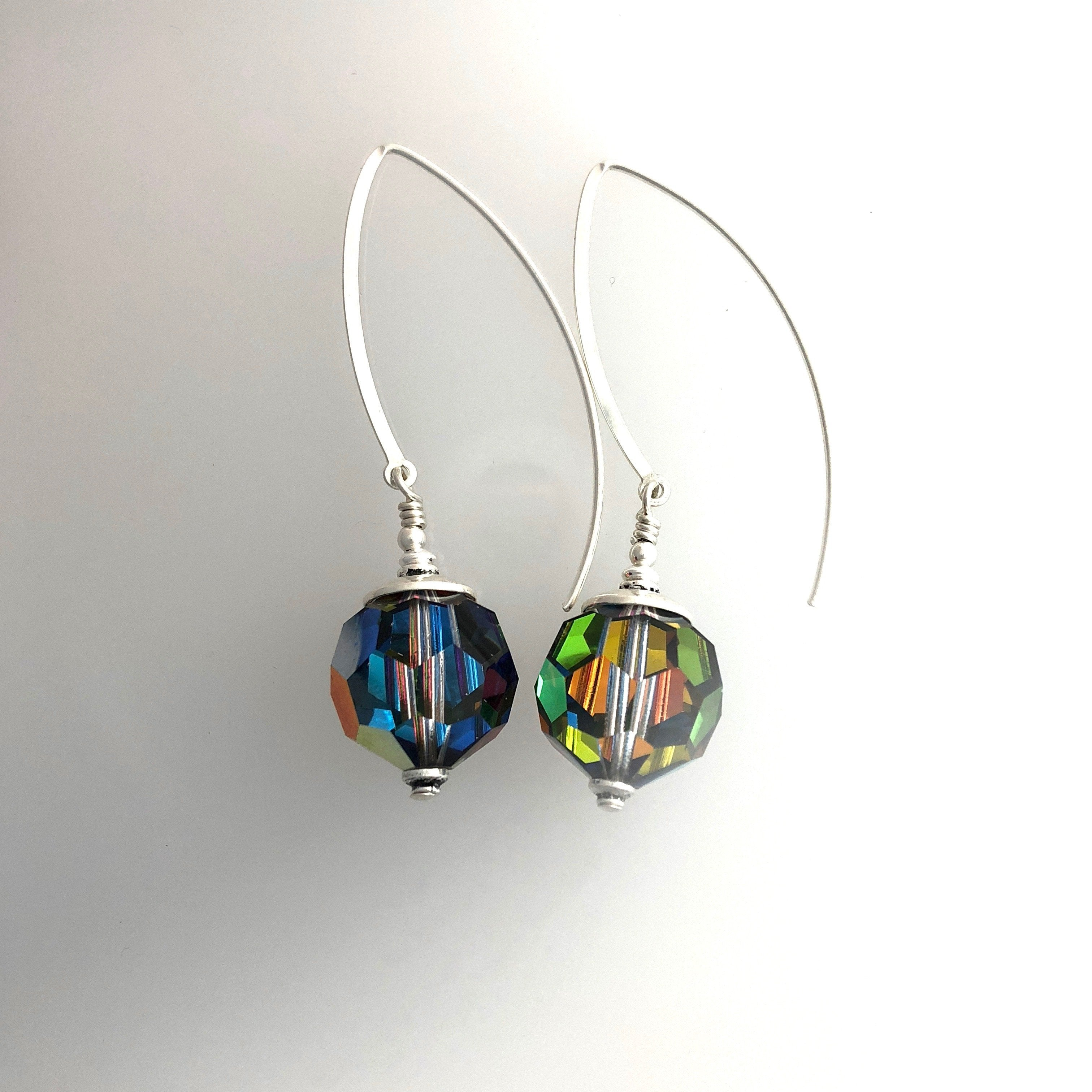 Rare Swarovski Vitrail and Sterling Silver Earrings