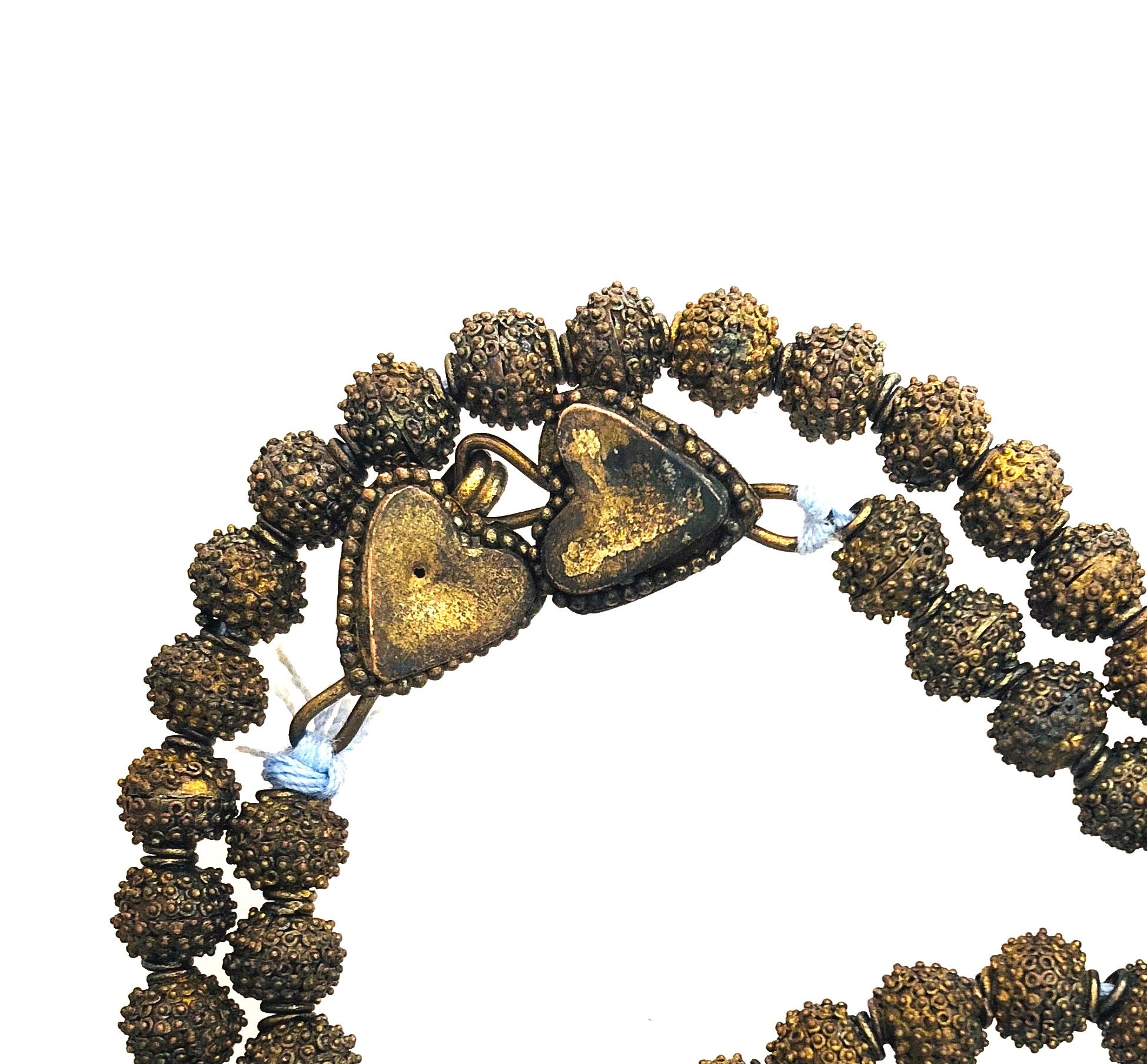 Yoruba Granulated Gilded Brass Bead Vintage Necklace