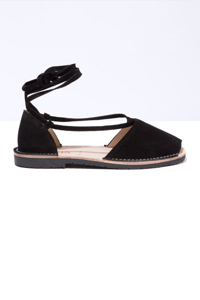 Trenza - Black Suede Ankle Tie