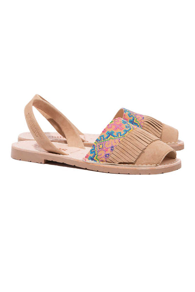 Folk fringe leather Menorcan Sandals for Women, made in Spain by Solillas Australia, angled view