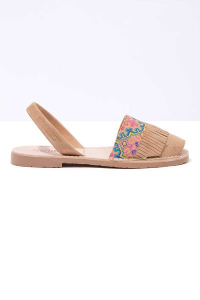 Folk fringe leather Menorcan Sandals for Women, made in Spain by Solillas Australia, side view