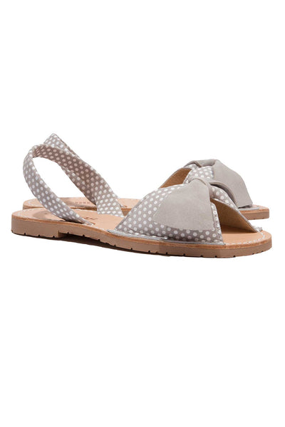 Grey polka dot leather Menorcan Sandals for Women, made in Spain by Solillas Australia, angled view