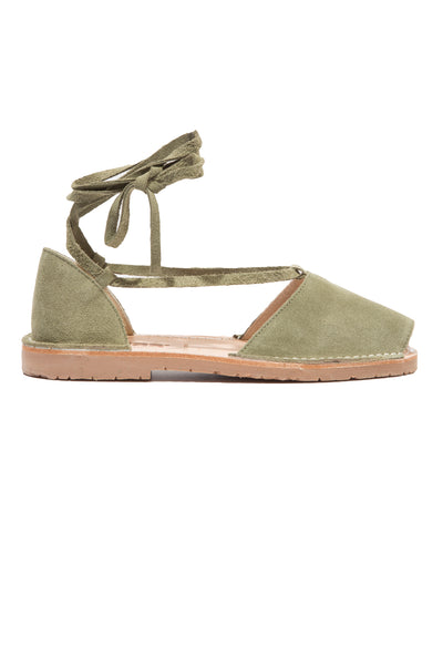 Hierba - Khaki Green Suede Ankle Tie