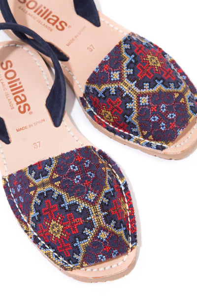 Navy blue embroidered Menorcan Sandals for Women, made in Spain by Solillas Australia, close up view