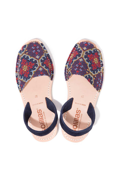 Navy blue embroidered Menorcan Sandals for Women, made in Spain by Solillas Australia, above view