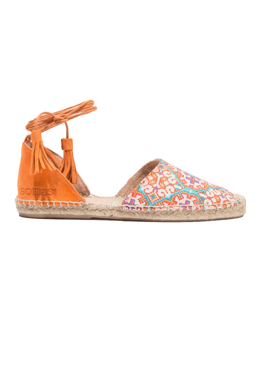 Gonella - Bright embroidered textile ankle tie espadrilles