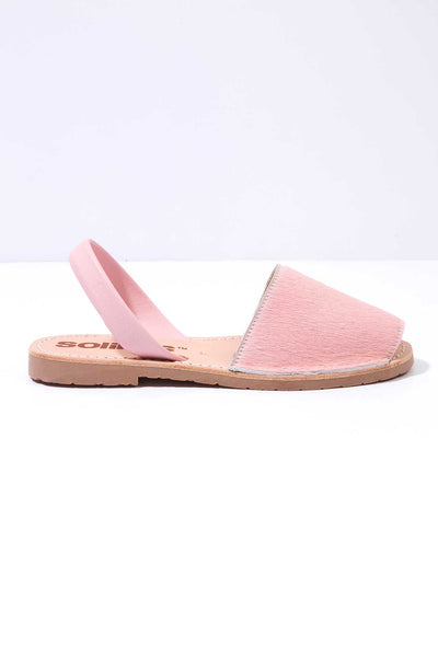 Pink fur Menorcan Sandals for Women, made in Spain by Solillas Australia, side view
