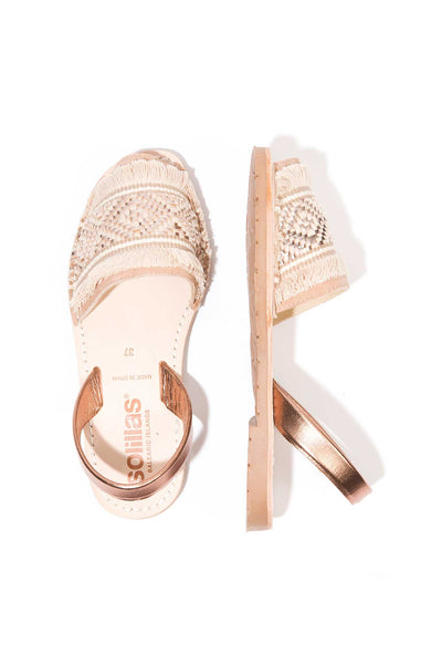Rose Gold Fringe Menorcan Sandals for Women, made in Spain by Solillas Australia, above view