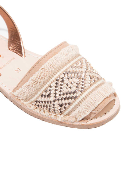 Rose Gold Fringe Menorcan Sandals for Women, made in Spain by Solillas Australia, close crop view