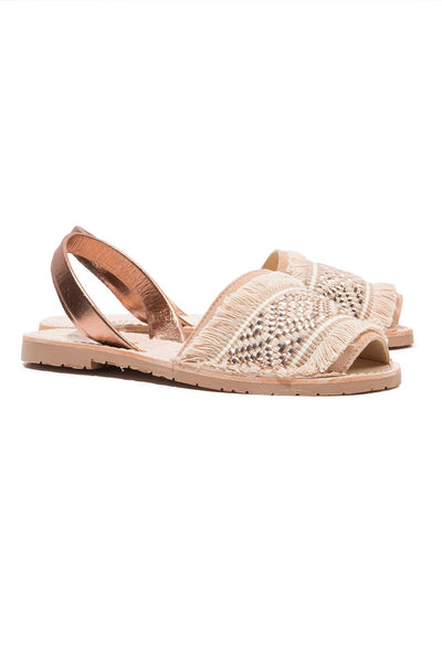 Rose Gold Fringe Menorcan Sandals for Women, made in Spain by Solillas Australia, angled view