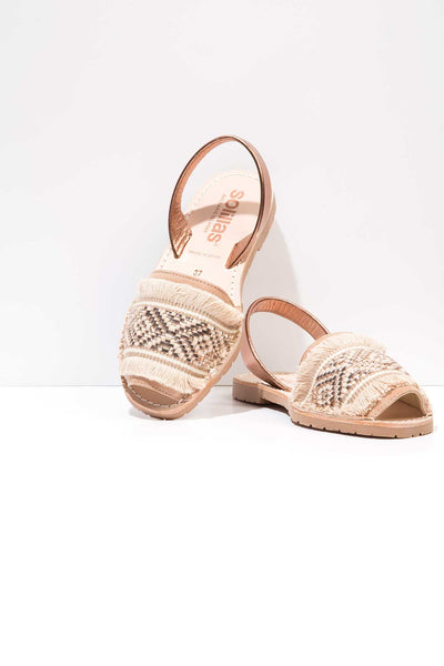 Rose Gold Fringe Menorcan Sandals for Women, made in Spain by Solillas Australia, placed view