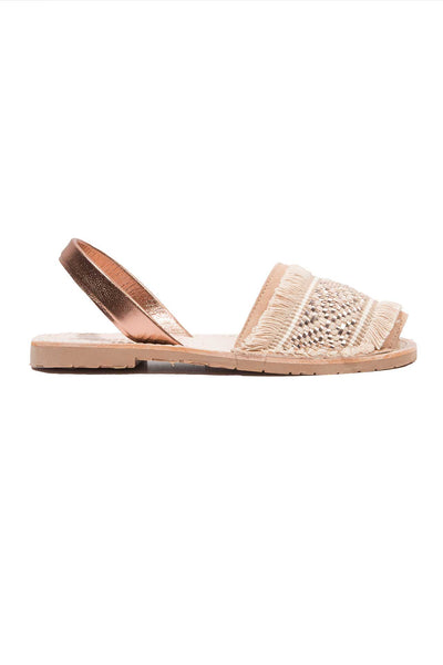 Rose Gold Fringe Menorcan Sandals for Women, made in Spain by Solillas Australia, side view