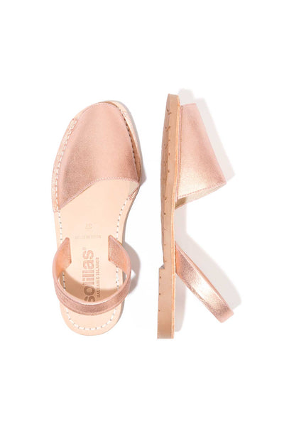 Rose Gold Menorcan Sandals for Women, made in Spain by Solillas Australia, above view