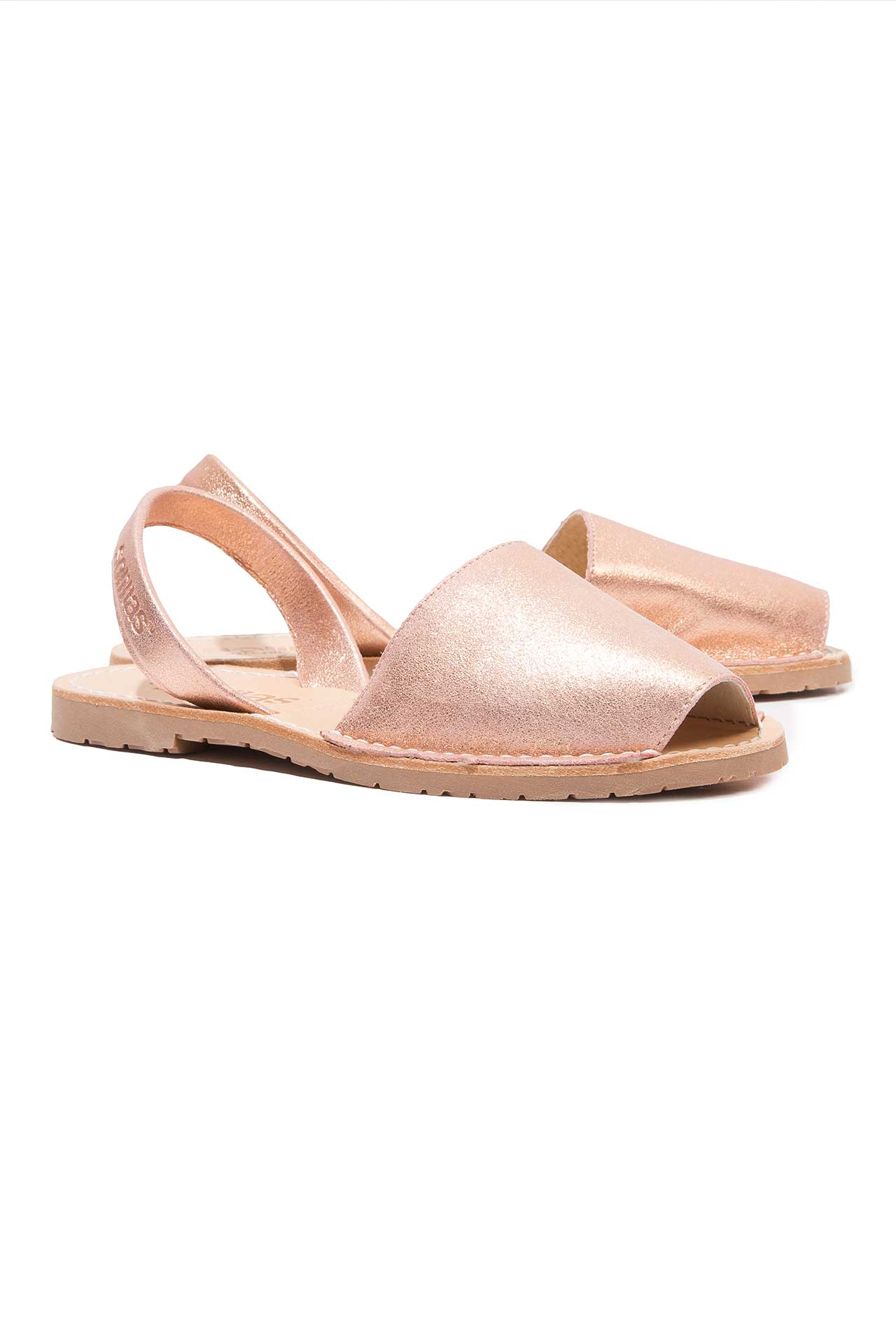 Rose Gold Leather Menorcan Sandals - Rose gold Solillas PLlatO
