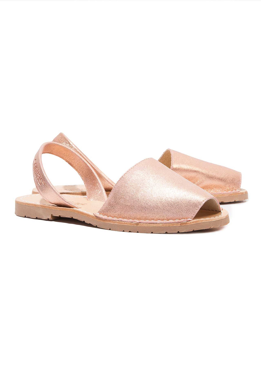 Rose Gold Menorcan Sandals for Women, made in Spain by Solillas Australia, positioned view