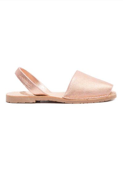 Rose Gold Menorcan Sandals for Women, made in Spain by Solillas Australia, side view
