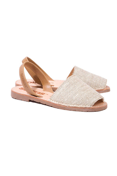Natural Canvas Tan Leather Menorcan Sandals for Women, made in Spain by Solillas Australia, angled view