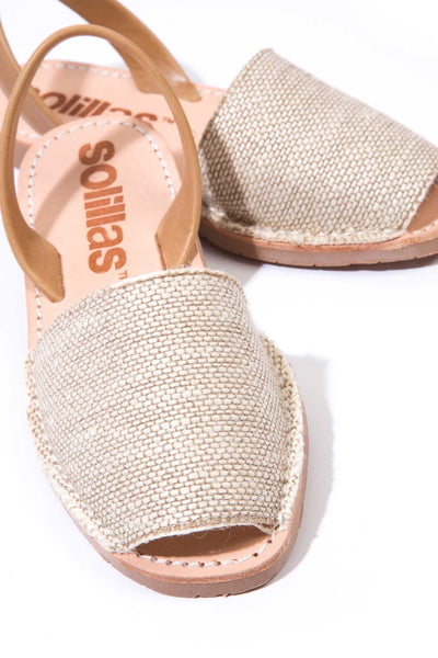 Natural Canvas Tan Leather Menorcan Sandals for Women, made in Spain by Solillas Australia, close up view