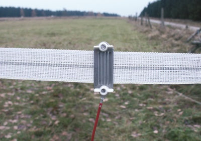 Connectors for electric fence tape