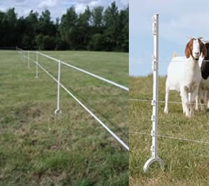 White Stirrup Horse Posts for an electric fence