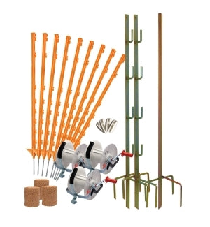 Geared 3 Reel Electric Fence Kits. Steel or Twine