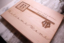 Load image into Gallery viewer, Housewarming gifts, Personalized Cutting Board, Welcome Home, New Homeowners Gifts, Couples Gifts, Client Gifts - Naked Wood Works
