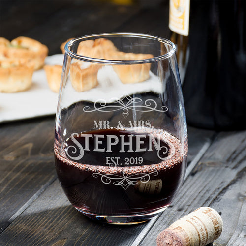 Wedding Wine Glass Personalized for Mr & Mrs - Stemless Bride Gift - Couples Wedding Anniversary Engagement Gift  - Naked Wood Works