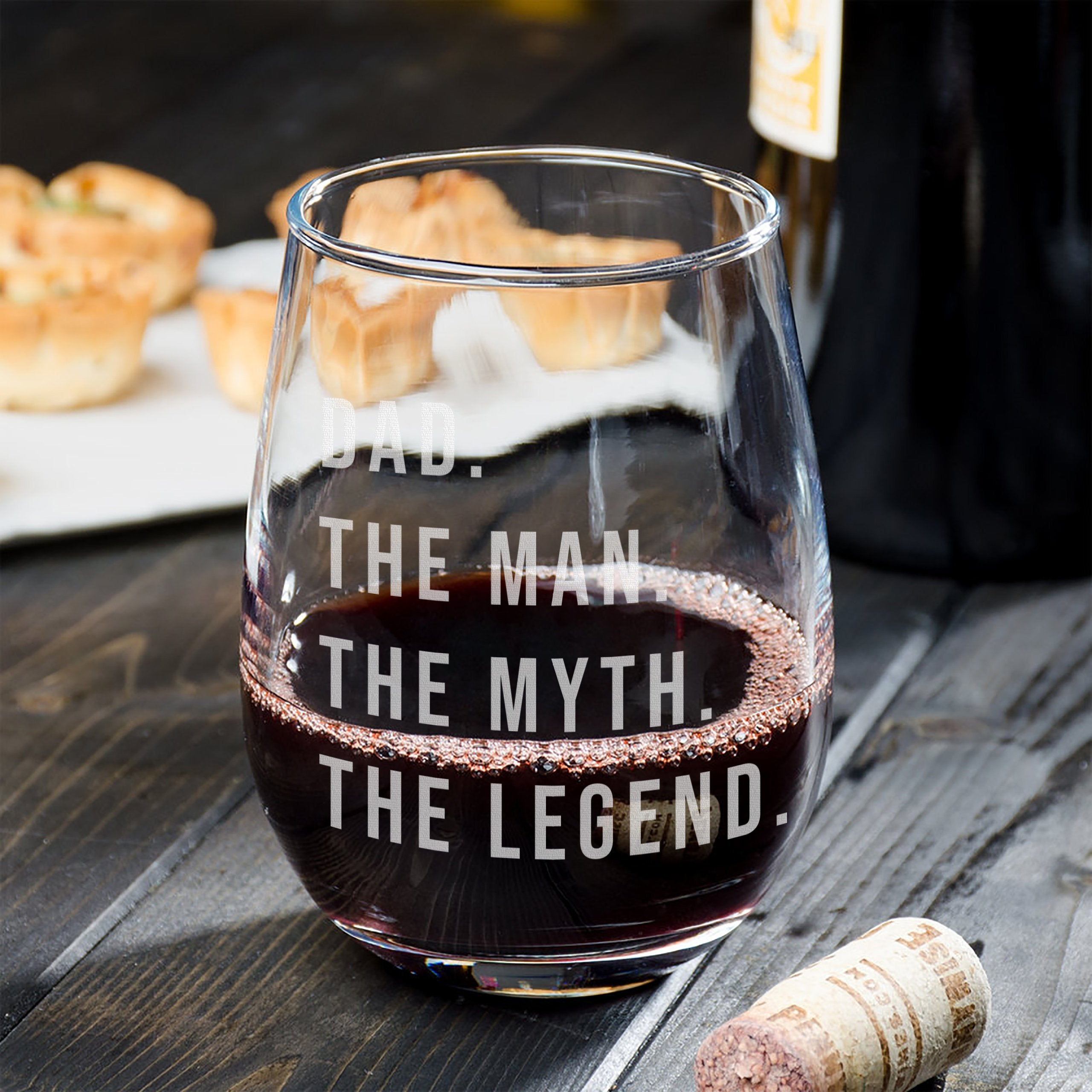 Gift for dad Wine Glass - Perfect birthday gift for dad the legend - Naked Wood Works