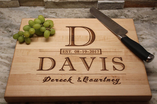 Anniversary Gift Personalized Cutting Board - Engagement Gift for the Bride - Bridal Shower Gift - Naked Wood Works