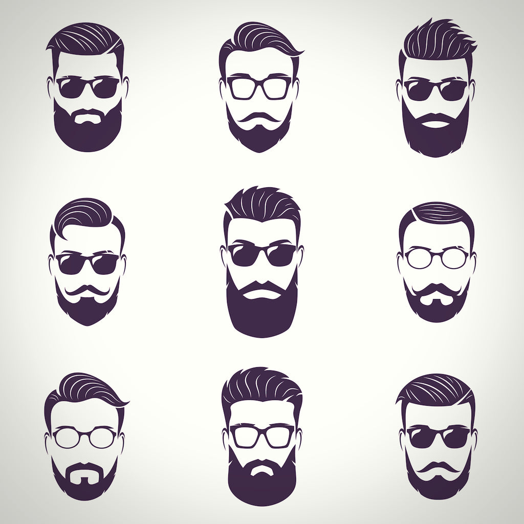 Silhouettes of stylish bearded men faces