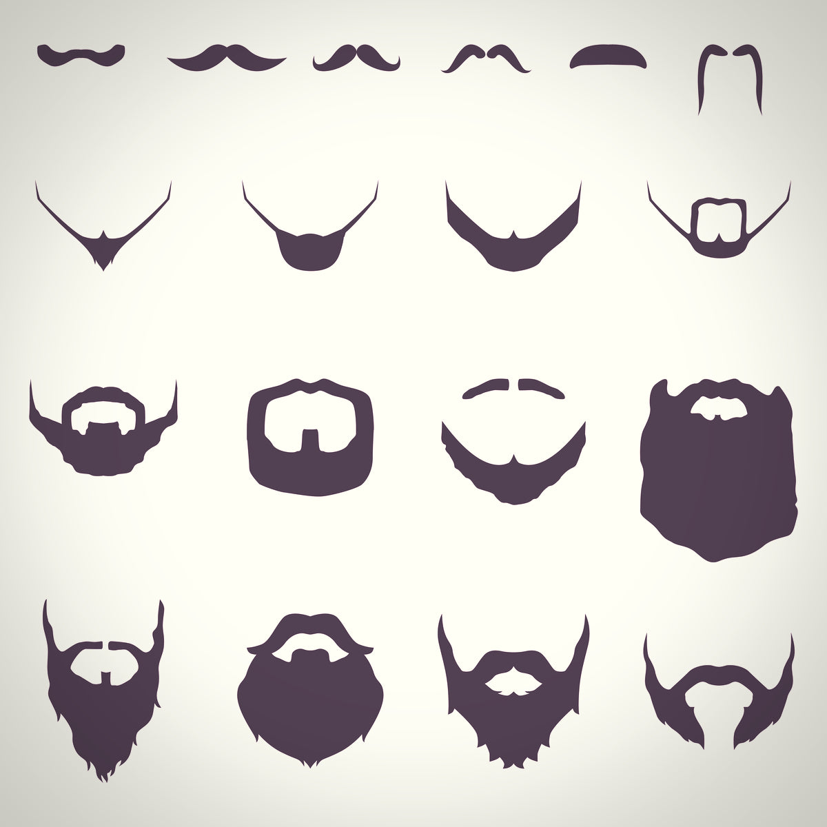 Silhouettes of short and long beard styles