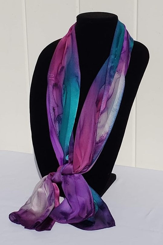 "11"" x 60"" Hand Painted Silk Satin Stripe Scarves - Silk Sensations"