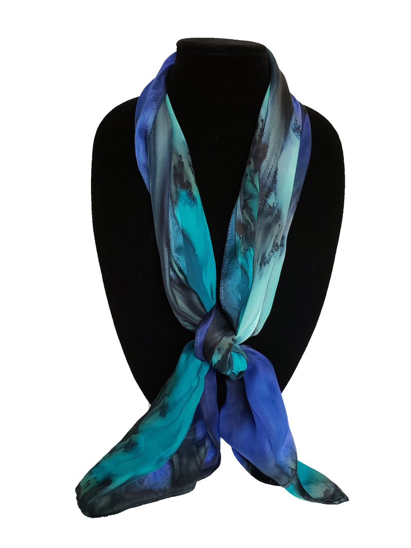 "Square 35"" x 35"" Hand Painted Silk Satin Stripe Scarves - Silk Sensations"