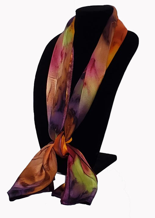 "17"" x 72"" Hand Painted Silk Satin Stripe Scarves - Silk Sensations"