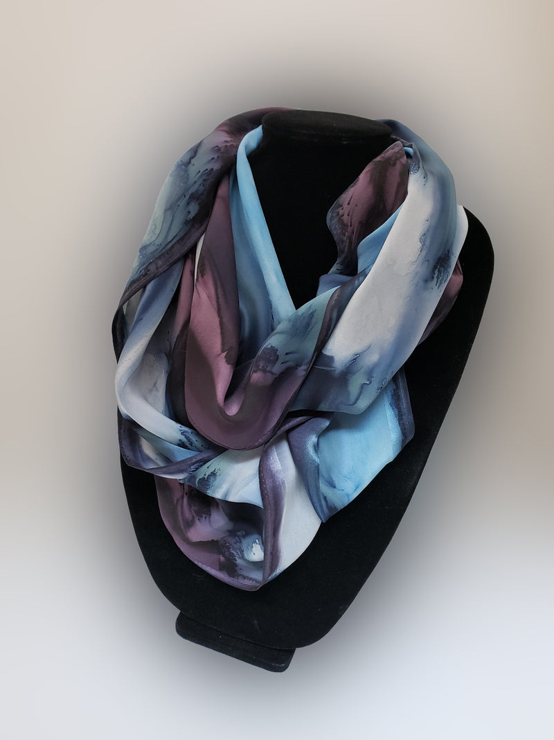 "11"" x 60"" Hand Painted Silk Satin Stripe Scarves"