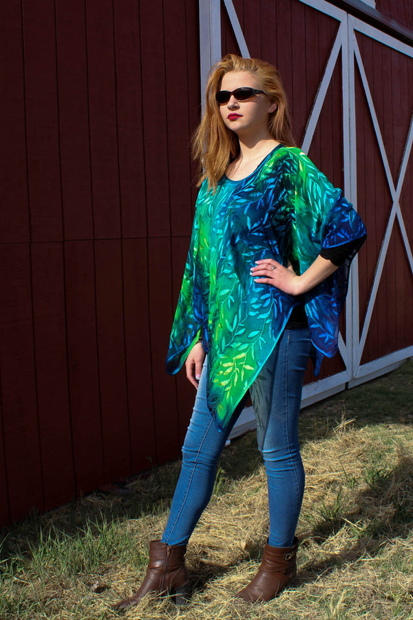 Ponchos- Leaf Pattern - Silk Sensations