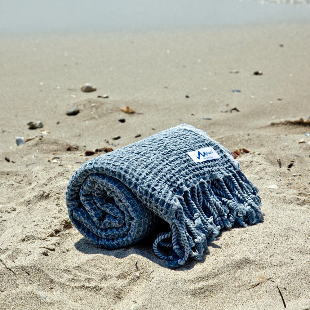 Maavi Waffle Turkish Cotton Hammam Beach Towel