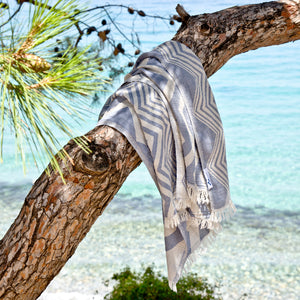 Maavi Rio Light Denim Blue Cotton Hammam Beach Towel