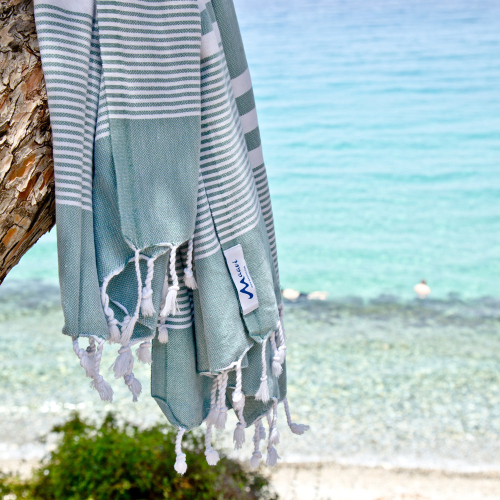 Maavi Fiscardo Aqua Turkish Cotton Hammam Beach Towel