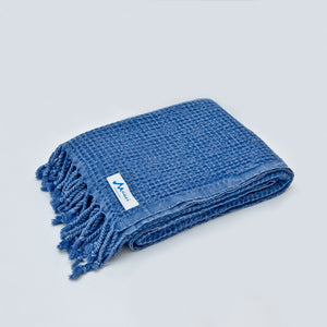 Maavi Turkish Cotton Hammam Beach Towel Symi Waffle Marine Blue