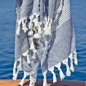 Maavi Turkish Cotton Hammam Beach Towel St Ives Denim Blue