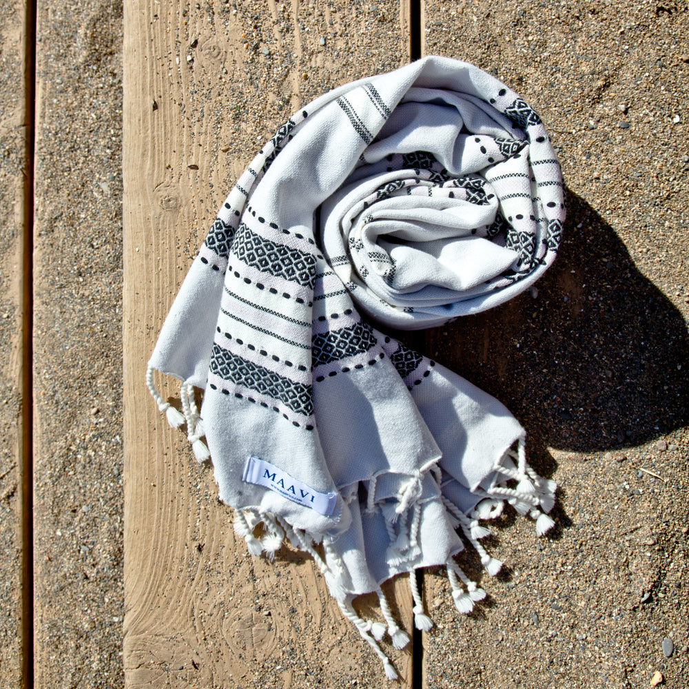 Sorrento Light French Grey Maavi Turkish Hammam Beach Towels